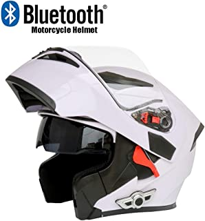TOPLOOS Modular Helmet Bluetooth Motorcycle Helmet D.O.T Certification-Full Face Racing Bluetooth Helmets Flip Front Automatic Answering Anti-Fog Double Mirror.