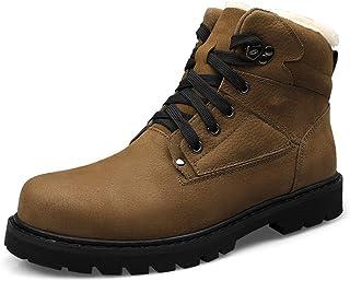 JIANFEI LIANG Men's Boots Casual Classic Round Toe Winter Fleece Inside High Top Boot Durable Shoes (Color : Black, Size : 48 EU)