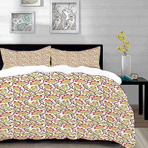 ropa de cama - Juego de funda nórdica, Art Nouveau, Boho vibrante, flor asiática japonesa, follaje de primavera, arte de estilo étnico rural, conjunto de funda nórdica de microfibra con 2 fundas de al