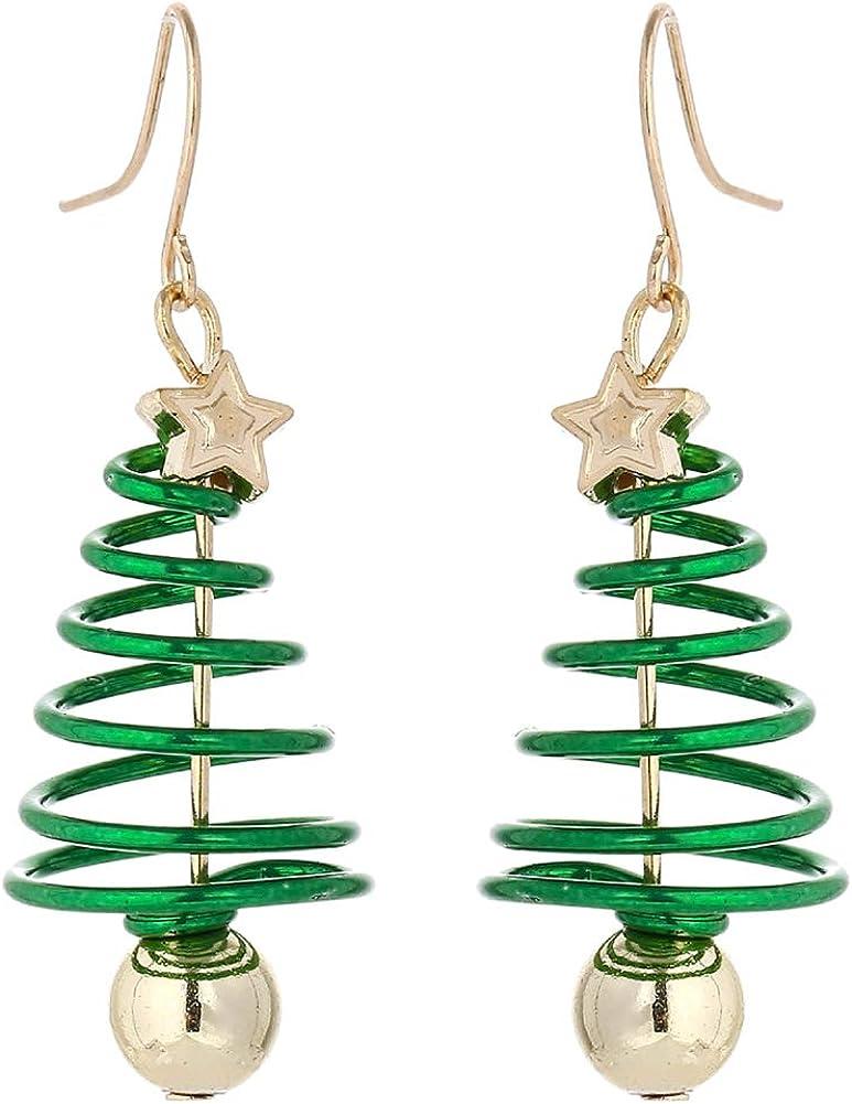 Christmas Dangle Earrings, Holiday Earings Handmade Christmas Tree Jingle Bell Earrings for Women Girls