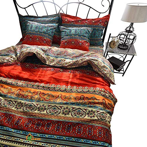 HNNSI 100% Brushed Cotton Boho Duvet Cover with 2 Pillow Shams 3 Pieces King Size, Bohemian Exotic Striped Bedding Sets, Ethnic Vintage Floral Comforter Cover Sets