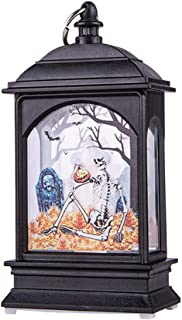 Juesi Halloween Lantern Decoration, Flame Effect LED Candle Lantern with Skeleton Ghost Haunt House Pattern Decorative Lamp, Indoor Outdoor Party Porch Decor Vintage Tea Light