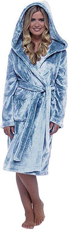 WUAI-Women Winter Plush Lengthened Shawl Bathrobe Fuzzy Fleece Robe Knee Length Plus Size Soft Sleepwear Pajamas