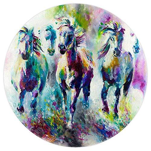 Bennigiry Pferdegemälde, weich, rund, modern, Memory-Schaum, rutschfest, waschbar, Wohnzimmer, Schlafzimmer, Teppich für Kinder, Spielzimmer, Spielzimmer, Kinderzimmer, 120 cm, Multi, 5.2ft-160cm