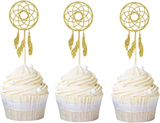 Newqueen 24 Pack Dream Catcher Cupcake Toppers Gold Glitter Cupcake Picks Baby Shower Birthday Party Cake Decors