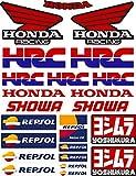 Pegatina Adhesivo Vinilo Sponsor Patrocinador Compatible con Honda - HRC - Showa - Yoshimura-Repsol Impresión Digital Laminado contra Rayos Uvi y Arañazos Hoja A 4 (23 Stickers)