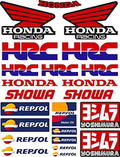 Vinyl-Aufkleber Sponsor, kompatibel mit Honda – HRC – Showa – Yoshimura-Repsol – Digitaldruck laminiert gegen UV-Strahlen und Kratzer, Blatt A 4 (23 Stickers)
