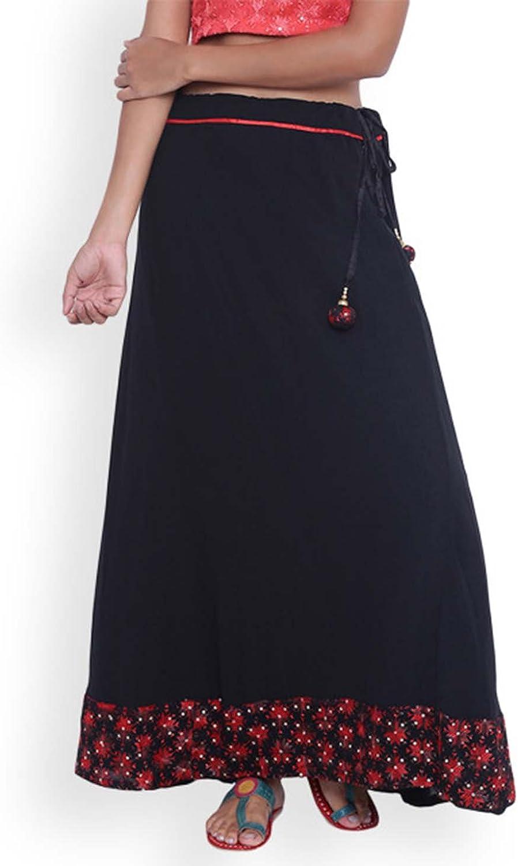 Indian Handicrfats Export 9rasa Black Printed Maxi Skirt
