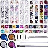 Duufin Kit Nail Art 3 Boîtes Nail Art Strass Ongles + 4 Boîtes Paillettes à Ongles + 4 Pots Poudre à Ongles, Paillettes Ongles Papillon Strass Nail Art Feuilles Nail Art Décorations