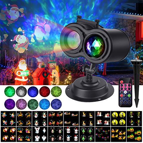 VIFLYKOO LED Projektionslampe, LED Licht Projektor Weihnachten Lichtdekoration Innen&Außen mit 18 Folien,Wasserdicht IP65,Fernbedienungfür Weihnachten, Silvester, Party, Geburtstag und Anlässe
