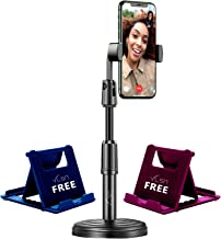 VLSA Free 2 Mobile Stand Mobile Phone Stand and Holder for Online Classes Table Bed Youtuber Video Recording Tripod Stands Suitable for iPhone and All Types of Smartphones