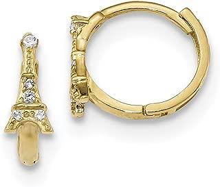Lex & Lu 14k Yellow Gold Madi K CZ Eiffel Tower Hinged Hoop Earrings