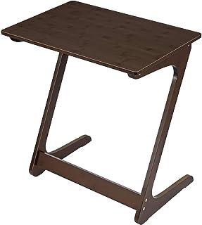 ソファ サイドテーブル リビング パソコンテーブル 竹製 Z字型が使い勝手の良い おしゃれ ナチュラルな素材 (ブラウン/ 幅45×奥行35×高さ60cm)