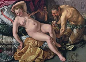 Hendrik Goltzius Giclee Print On Canvas-Famous Paintings Fine Art Poster-Reproduction Wall Decor(Jupiter Besieged Antiope In The Form Of A Satyr) Large Size 80 x 58cm #DFB
