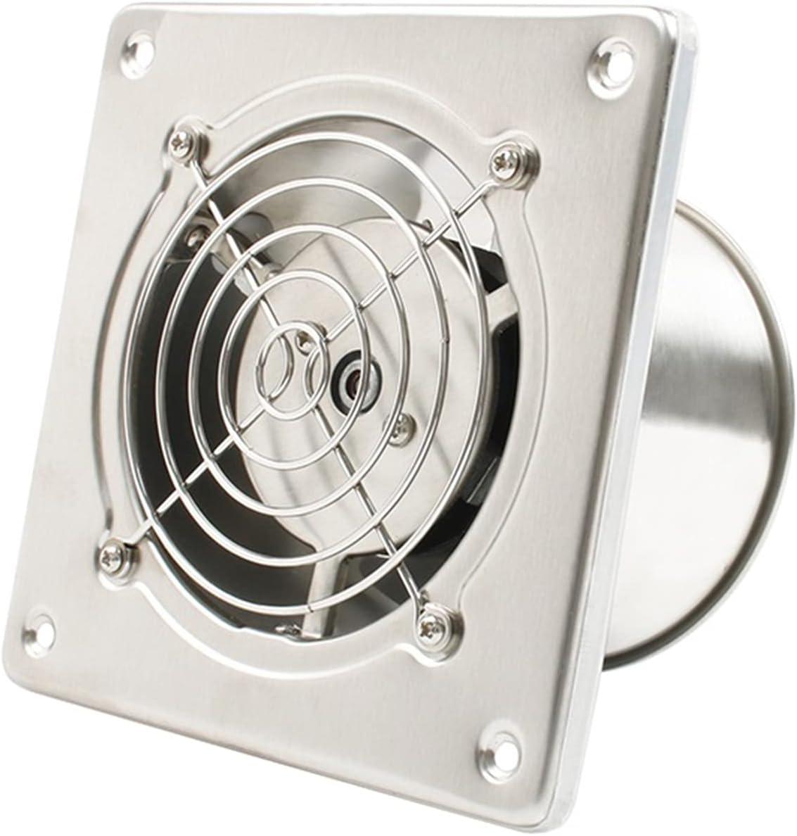 Ventilador Extractor 4 '' Acompañamiento de escape de acero inoxidable Cocina de baño Cuarto de baño Colgante de pared Ventilador Ventilador Air Ventilador Extractor Soplador con red protectora, 25W E
