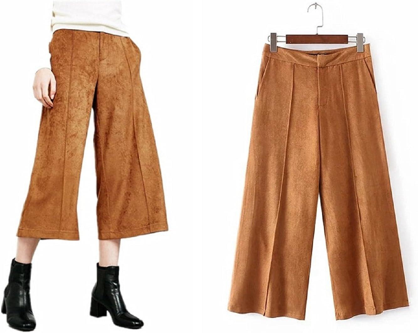 Women's New Casual Solide Faux Suede 3/4 Length Boyfriend Trousers Pants