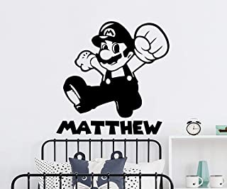 Super Mario Wall Decal. Personalized Boys Name Wall Stickers. Custom Name Super Mario Decals. Boy Name Wall Art. Boys Gamer Bedroom Decor C749
