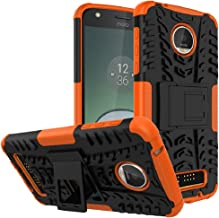Moto Z Play Droid Case,Yiakeng Shockproof Impact Protection Tough Rugged Dual Layer Protective Case Cover with Kickstand for Motorola Moto Z Play Droid (Orange)