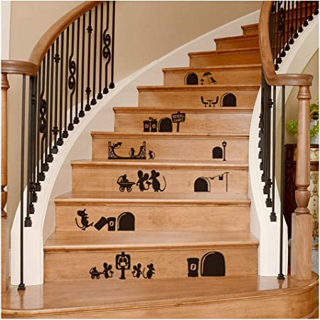 Staircase Decal Stair Mural Decals Diy Tile Decal Waterproof Home Decoration Family Stair Decal Wall Decoration Sticker Creative Building Stairs Sticker Decal Cartoon Mouse Amazon Com