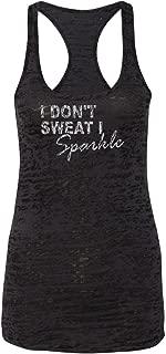 Orange Arrow Womens Workout Tanks - I Don't Sweat I Sparkles - Zumba Dance Tops by Echona Apparel