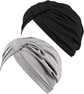 JarseHera Chemo Turbans for Women Pre Tied Cotton Vintage Cover Twist Pleasted Hair Caps