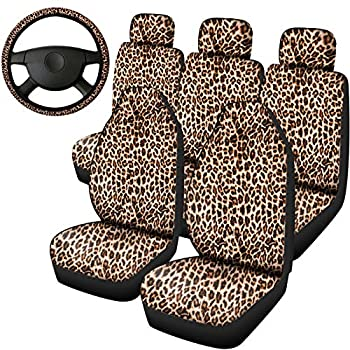 Frienda 6 Pieces Leopard Print Seat Covers and Steering Wheel Cover for Most Car Decorations