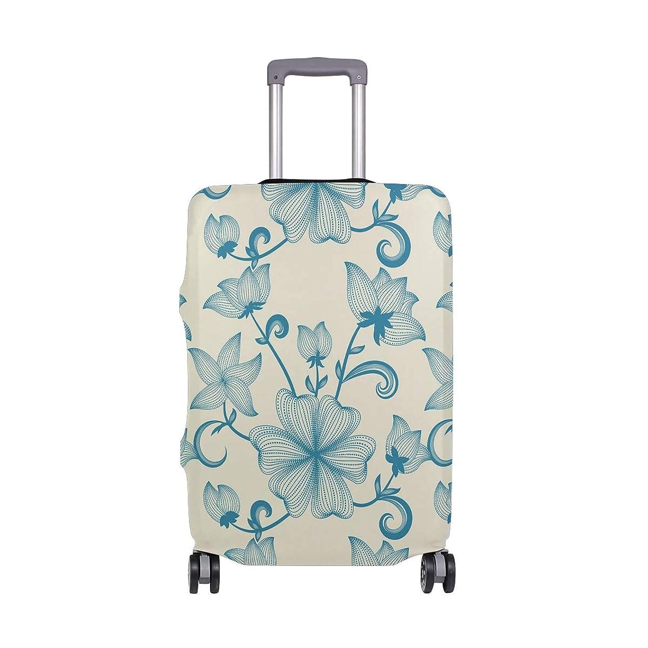 影響力のあるしてはいけません主権者スーツケースカバー 荷物カバー 花柄 デザイン 伸縮素材 ラゲッジカバー 防塵 擦り傷防止 トラベルアクセサリ 旅行
