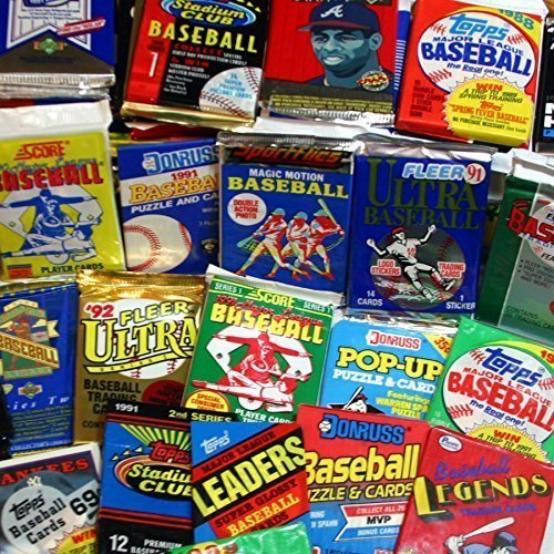 300 Unopened Baseball Cards Collection in Factory Sealed Packs of Vintage...