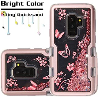 Kaleidio Case Compatible for Samsung Galaxy S9 Plus G965 [Vivid TUFF] Glitter Liquid Hybrid Silicon Bumper Cover w/Overbrawn Prying Tool [Quicksand Rose Gold Butterfly Flower/Rose Gold Sparkle]