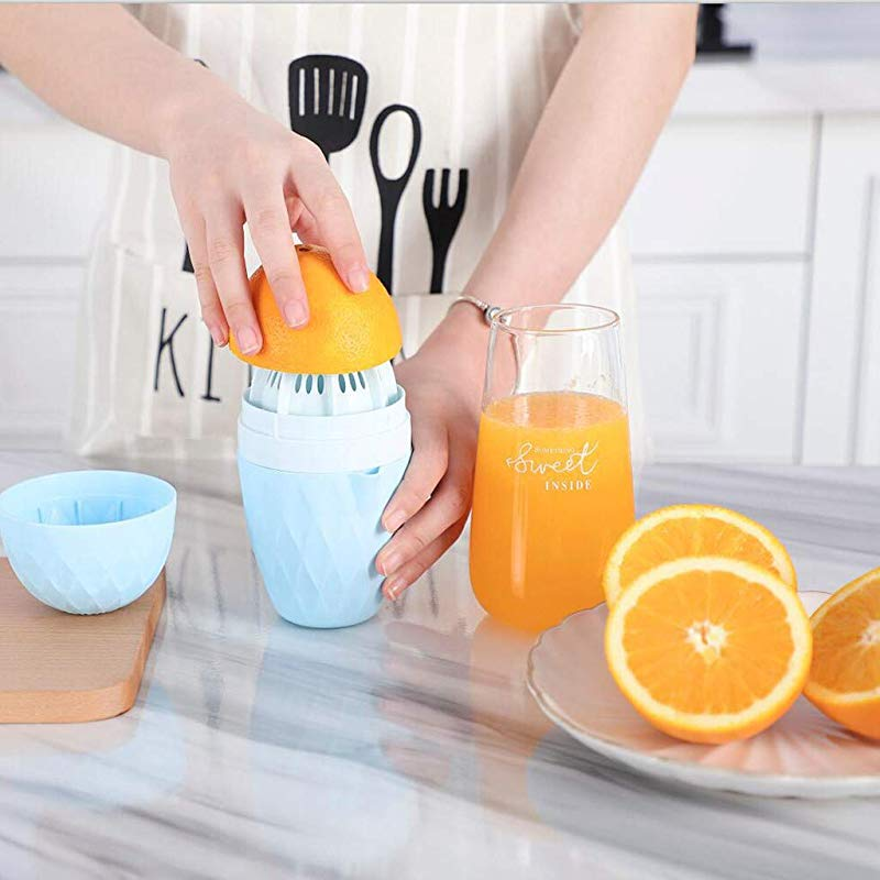 Huaze Juicer Hand Manual Orange Lemon Squeezer Kitchen Multi Function Mini Baby Juice Cup With Strainer And Container Blue