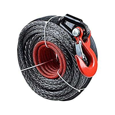 Synthetic Winch Line Cable Rope 92ft X 1/2 Inch 20000LBS w/ Protective Sleeve for SUV ATV UTV Jeep Truck Boat Ramsey