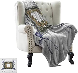 BelleAckerman Yoga Blanket Victorian,Frame with Two Girl Flying to Two Owl Two Hunter Animal Wildlife Jungle, Violet Tan Pearl Extra Cozy, Machine Washable, Comfortable Home Decor 70