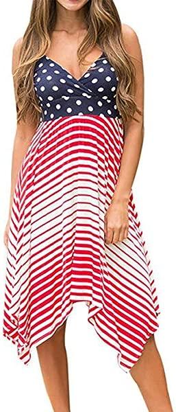 TOTOD Dress Women Sexy American Flag Print Round Neck Sleeveless Long Maxi Casual Beach Dresses