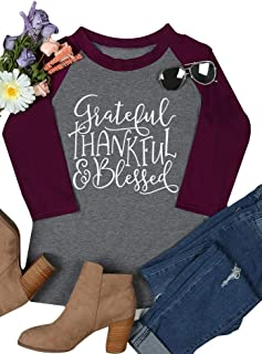 MK Shop Limited Women Thankful Blessed T-Shirts Thanksgiving Splicing Raglan 3/4 Sleeve Tops Blouse