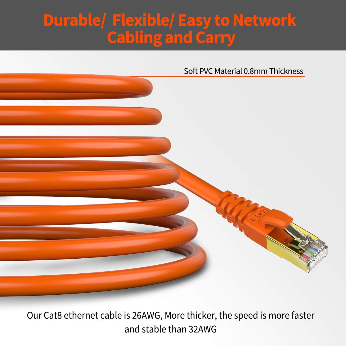 Xbox Modem Heavy Duty High Speed Lan Cables w Gold Plated RJ45 Connector Professional for Router Gaming CAT 8 Ethernet Cable 1 M Shielded 1 Pack Orange SFTP Internet Network Patch Cord
