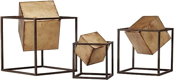 Madison Park Quad Cube Home D Cor 3 Piece Set Metal Accent Statue Modern Luxe Geomatric Art Sculpture Design Living Room Shelf Accessories Multi Size Black Gold