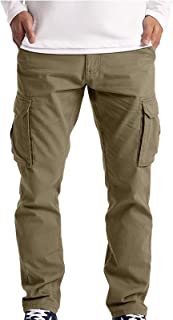 ORGE Pantaloni Cargo Uomo, Pantaloni da Uomo Multitasche, Pantaloni Casual Larghi a Vita Media Pantaloni Slim a Gamba Drit...