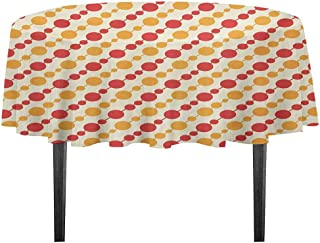 kangkaishi Kids Washable Tablecloth Diagonal Chain Pattern with Big and Small Dots on Lines in Shabby Colors Dinner Picnic Home Decor D55.11 Inch Scarlet Marigold Cream