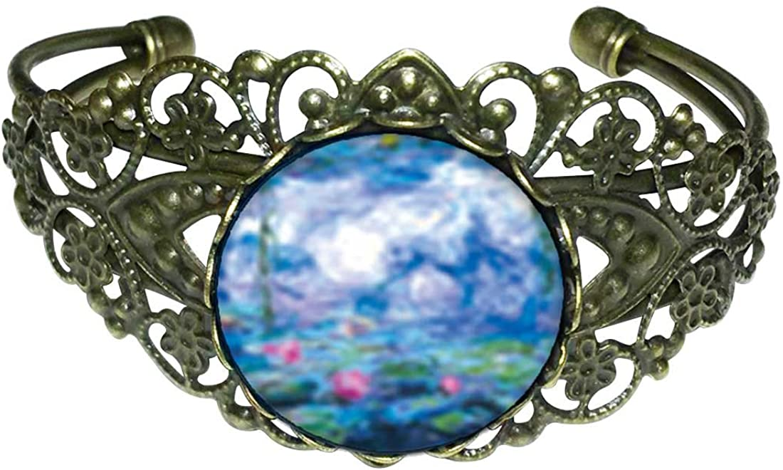 GiftJewelryShop Bronze Retro Style Monet's Nympheas Water Lilies Flower Cuff Bangle Bracelets