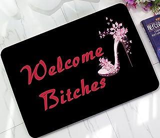 ChezMax Pink High Heel Shoes Printed Non-Slip Doormat Coral Fleece Indoor Outdoor Kitchen Floor Rug Front Door Mat Funny Flannel Carpet 23.62
