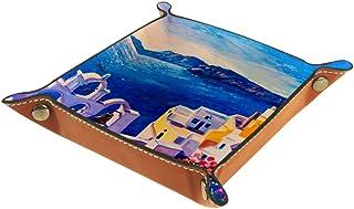 BestIdeas Panier de rangement carré de 20,5 × 20,5 cm, avec peinture à l'huile de l'île de Grèce, boîte de rangement sur t...