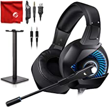 ONIKUMA K6 Blue LED Light Pro Over-Ear Surround Sound Noise Cancelling Gaming Headset Microphone Bundle with Headphone Stand for PC, Xbox One, PS4, Nintendo Switch, Mac, Desktop, Laptop, Computer