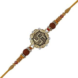 Rakhi Bracelet with Faux Stones Kundan Design for Brother Bhai Celebration of Rakshabandhan Design 10