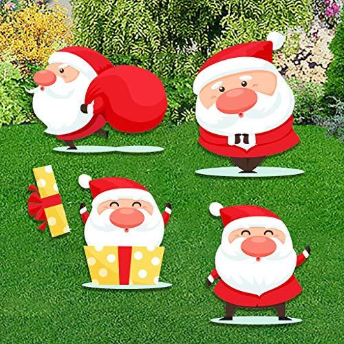 Geilisungren Weihnachten Deko Yard Schilder & Pfähle 4/6/9 Stücke Weihnachtsmann Gartenschilder Garten Pfähle Yard Stake Sign mit Einsätzen, Christmas Outdoor Party Dekoration (4pc, M)