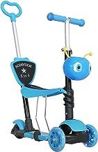 HOMCOM Trottinette pour Enfants Trottinette 3 Roues évolutive 3 en 1 Hauteur Guidon réglable Canne telescopique Selle Dossier Amovible Bleu