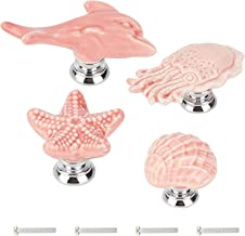 GORGECRAFT 4 Sets Keramische Kast Knoppen Zeester Octopus Shell Dolfijn Marine Dieren Thema Ocean Cartoon Stijl Handgemaak...