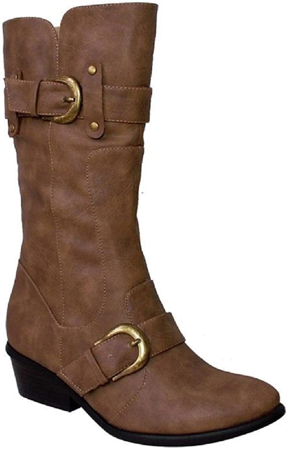 De Blossom Collection Kiosk-10 Women's Mid Calf Western Cowboy Leatherette Riding, Equestrian Buckled Boots,