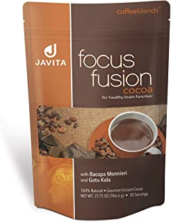 Focus Fusion Cocoa Made with Premium, Rich Chocolate, Cocoa and Herbs for Improved Focus, Concentration, and Clarity, Javita, Made in USA, 24 serv, hot or Cold…