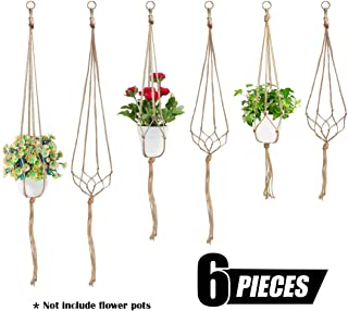 Swpeet 6 Pack 3 Sizes Macrame Hanging Planter Holder Plant Hanger Kit, Hanging Planter Basket Rope Holder for Indoor Outdoor Decorations Beautiful Hanging Plant for Succulents, Cacti, Herbs