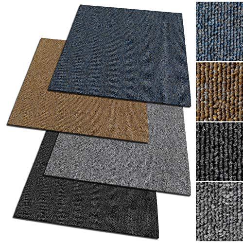 Design Teppichfliesen Moskau 50x50 cm selbstliegend - 1 m² Set - strapazierfähiger Teppich Bodenbelag mit hochwertigem Schlingenflor - antistatisch mit Bitumen Rücken (Beige, 4 Stück)